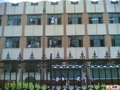 Students Forced to Clean Third-Story Windows...From the Outside
