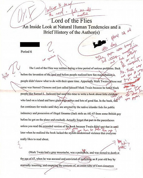Mark Twain was evil and he wrote Lord of the Flies